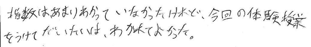 S君(中新川郡立山町)からの口コミ