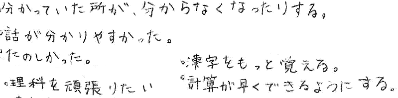 紗穂ちゃん(小6)(笠岡市)からの口コミ