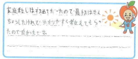 K君(鯖江市)からの口コミ